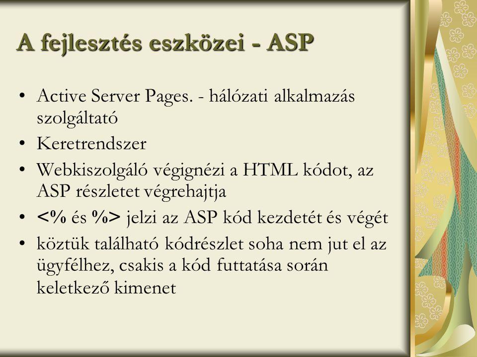 A fejlesztés eszközei - ASP