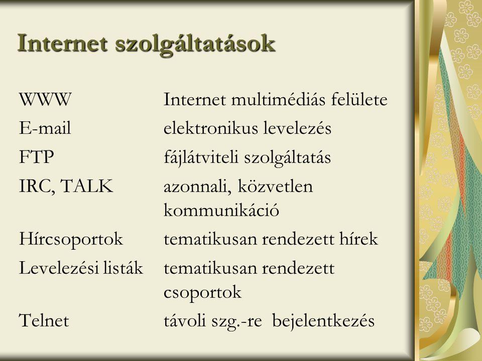 Internet szolgáltatások