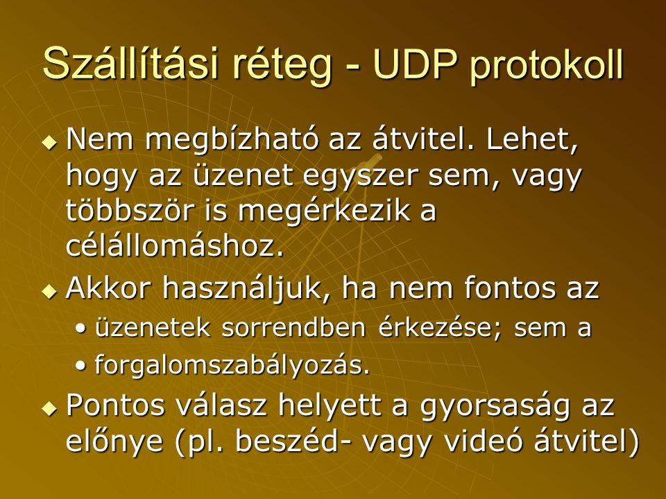 Szállítási réteg - UDP protokoll