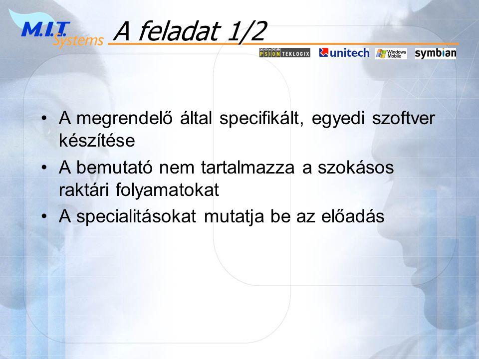 A feladat 1/2 A megrendelő által specifikált, egyedi szoftver készítése. A bemutató nem tartalmazza a szokásos raktári folyamatokat.