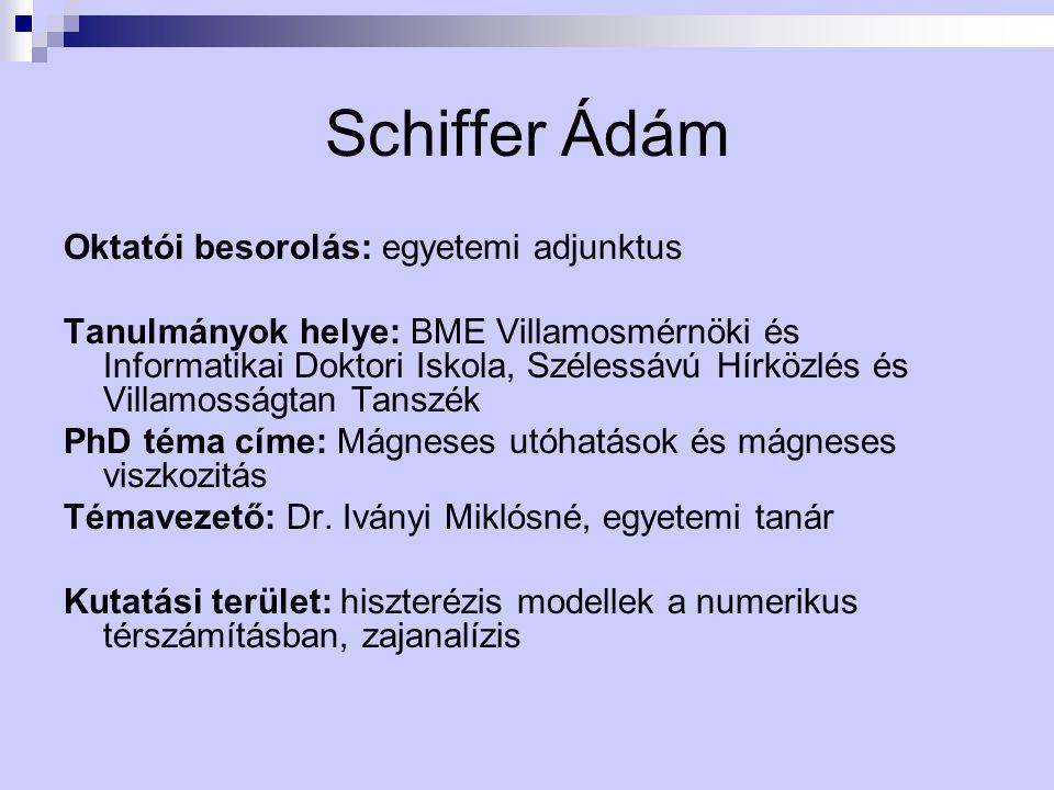 Schiffer Ádám Oktatói besorolás: egyetemi adjunktus