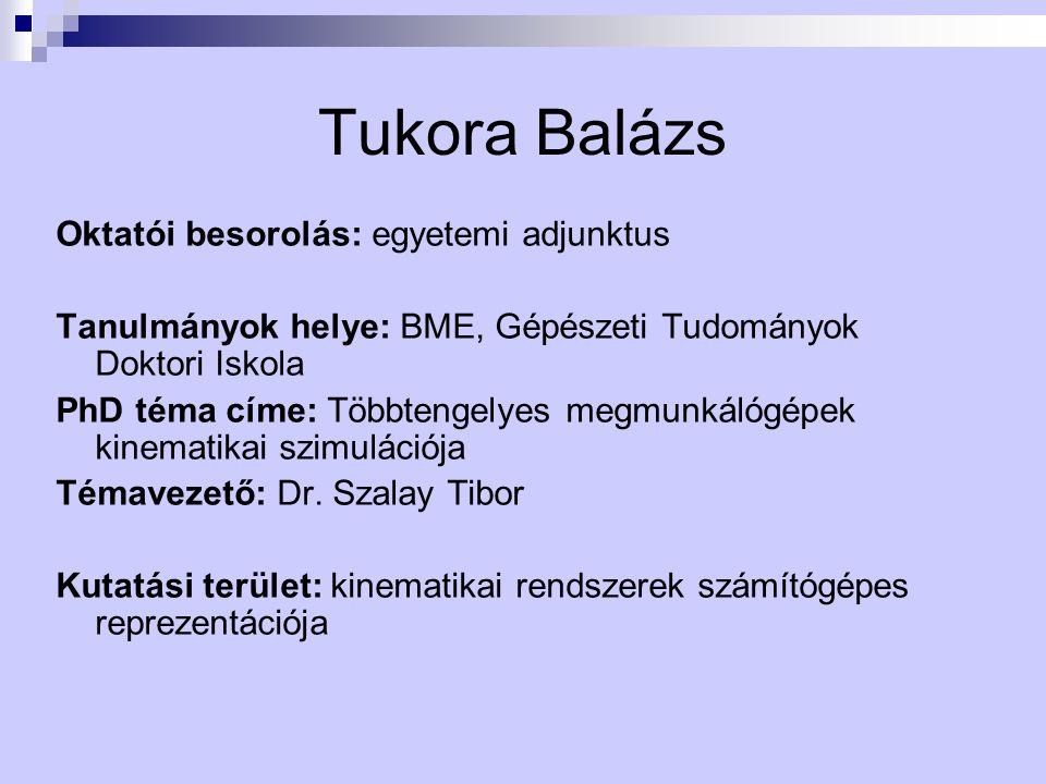 Tukora Balázs Oktatói besorolás: egyetemi adjunktus
