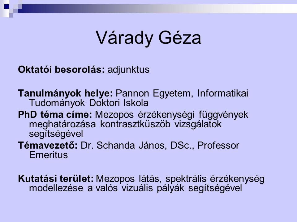 Várady Géza Oktatói besorolás: adjunktus