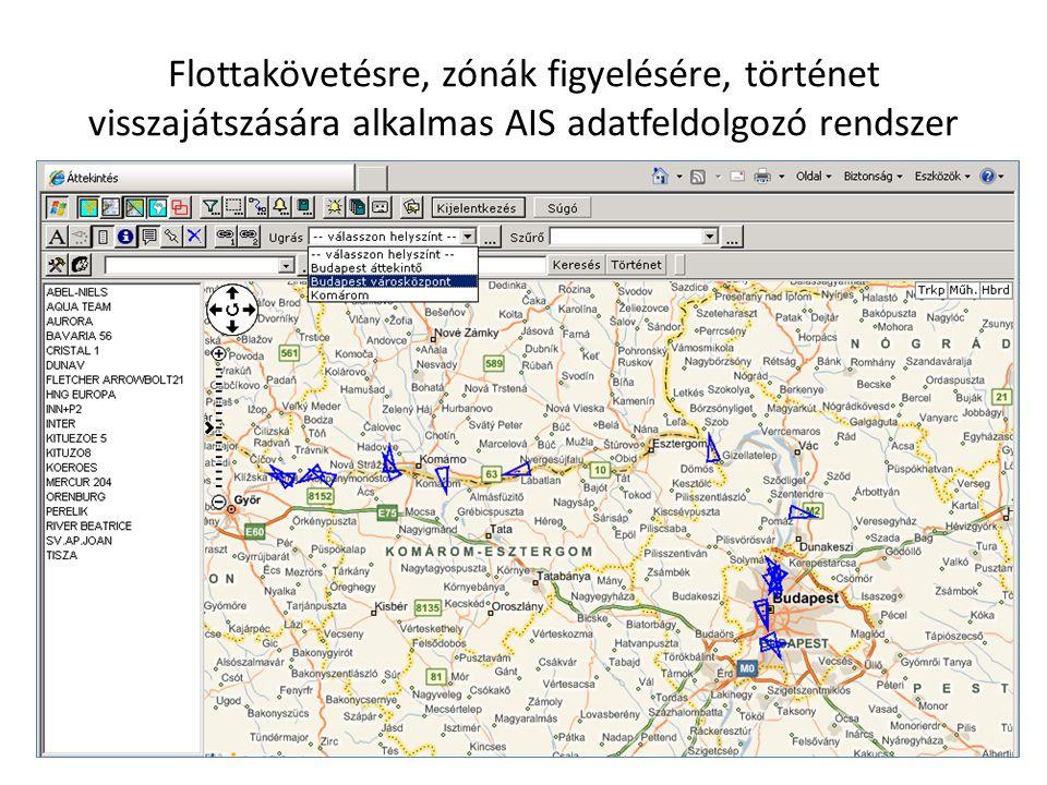 Flottakövetésre, zónák figyelésére, történet visszajátszására alkalmas AIS adatfeldolgozó rendszer