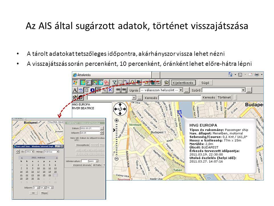 Az AIS által sugárzott adatok, történet visszajátszása