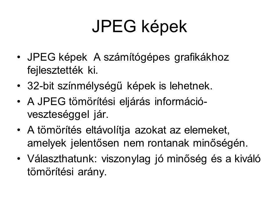 JPEG képek JPEG képek A számítógépes grafikákhoz fejlesztették ki.
