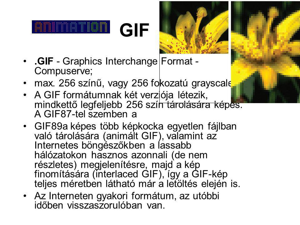 GIF .GIF - Graphics Interchange Format - Compuserve;
