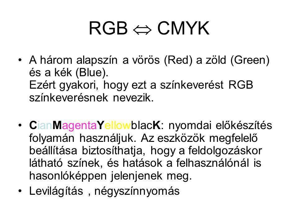 RGB  CMYK A három alapszín a vörös (Red) a zöld (Green) és a kék (Blue). Ezért gyakori, hogy ezt a színkeverést RGB színkeverésnek nevezik.