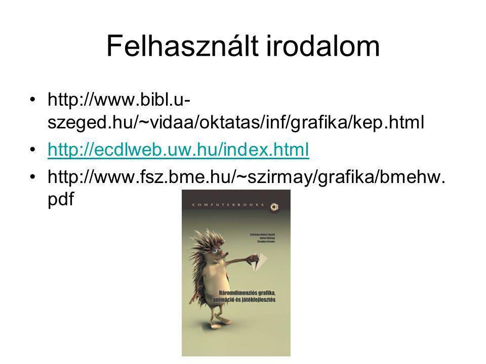 Felhasznált irodalom http://www.bibl.u-szeged.hu/~vidaa/oktatas/inf/grafika/kep.html. http://ecdlweb.uw.hu/index.html.