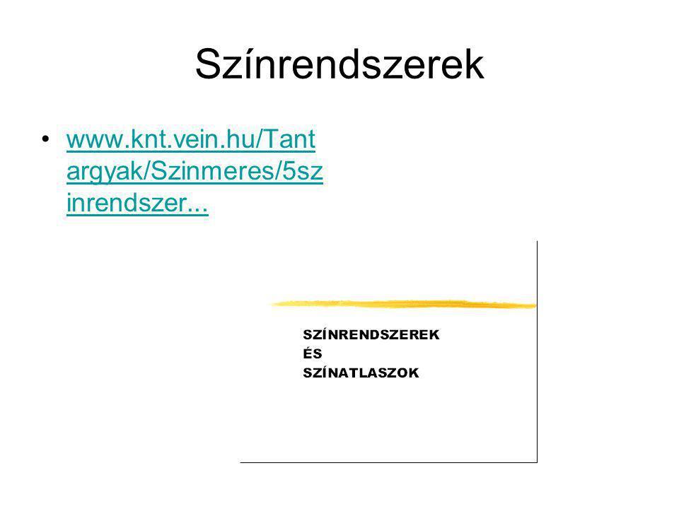 Színrendszerek www.knt.vein.hu/Tantargyak/Szinmeres/5szinrendszer...
