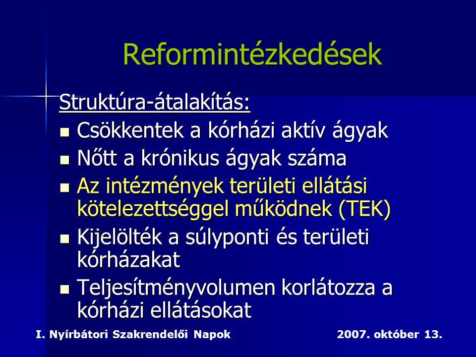 Reformintézkedések Struktúra-átalakítás: