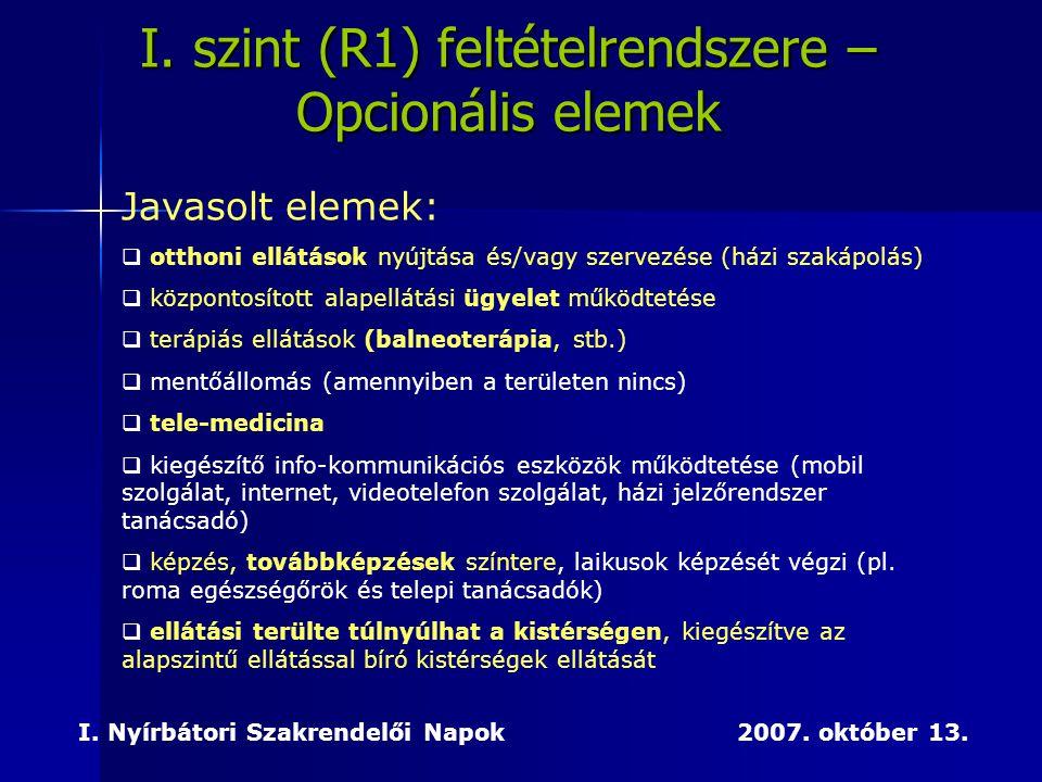 I. szint (R1) feltételrendszere – Opcionális elemek