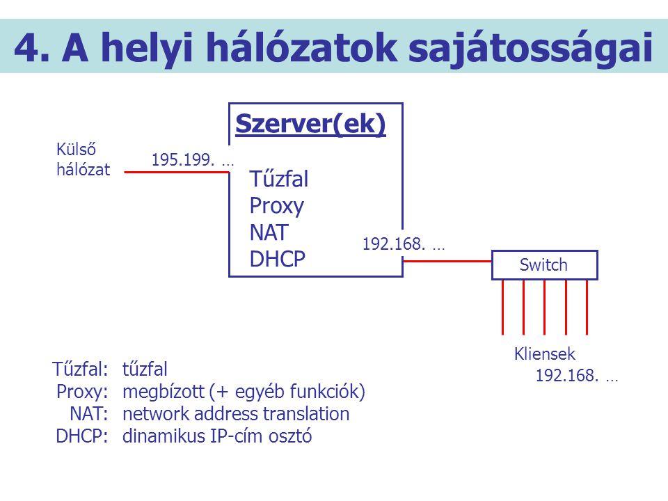4. A helyi hálózatok sajátosságai