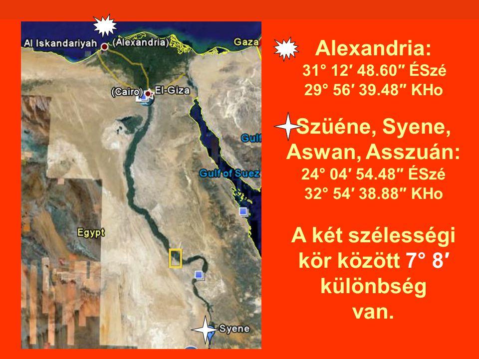 Alexandria: 31° 12′ 48. 60″ ÉSzé 29° 56′ 39