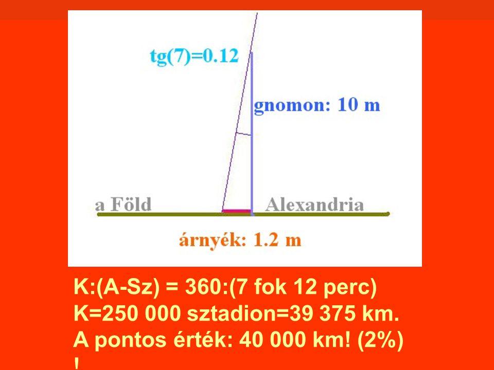 K:(A-Sz) = 360:(7 fok 12 perc) K=250 000 sztadion=39 375 km