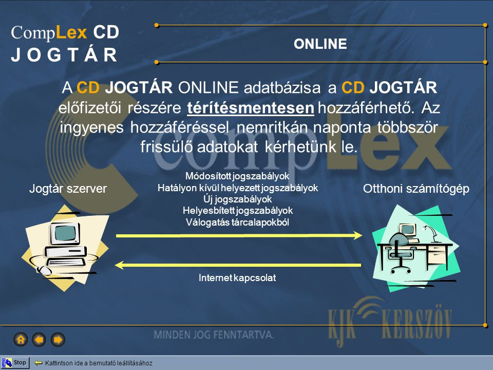 A CD JOGTÁR ONLINE adatbázisa a CD JOGTÁR