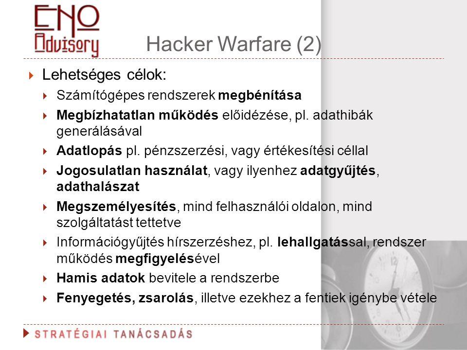 Hacker Warfare (2) Lehetséges célok: