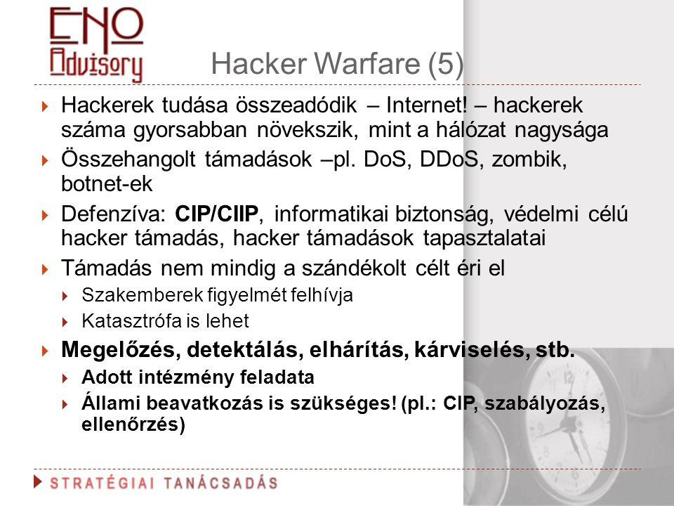 Hacker Warfare (5) Hackerek tudása összeadódik – Internet! – hackerek száma gyorsabban növekszik, mint a hálózat nagysága.