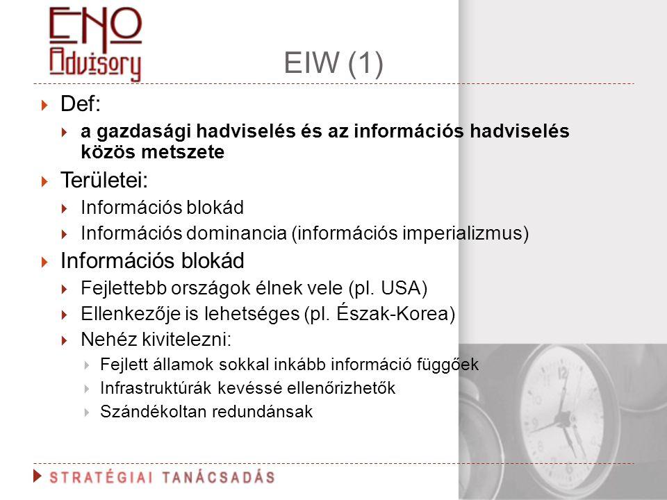 EIW (1) Def: a gazdasági hadviselés és az információs hadviselés közös metszete. Területei: Információs blokád.