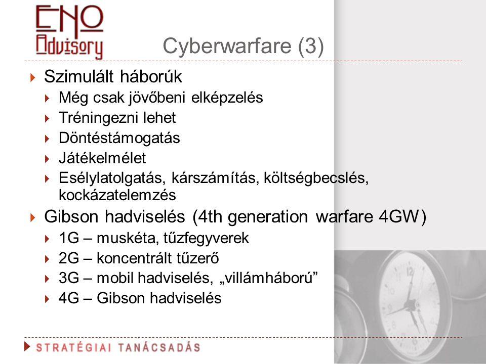 Cyberwarfare (3) Szimulált háborúk