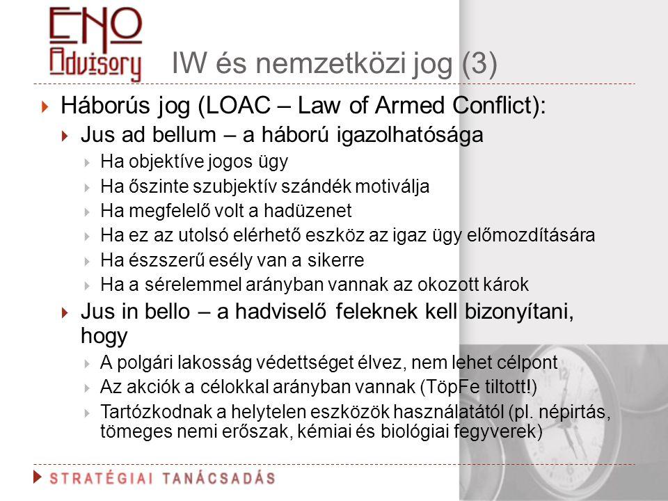 IW és nemzetközi jog (3) Háborús jog (LOAC – Law of Armed Conflict):
