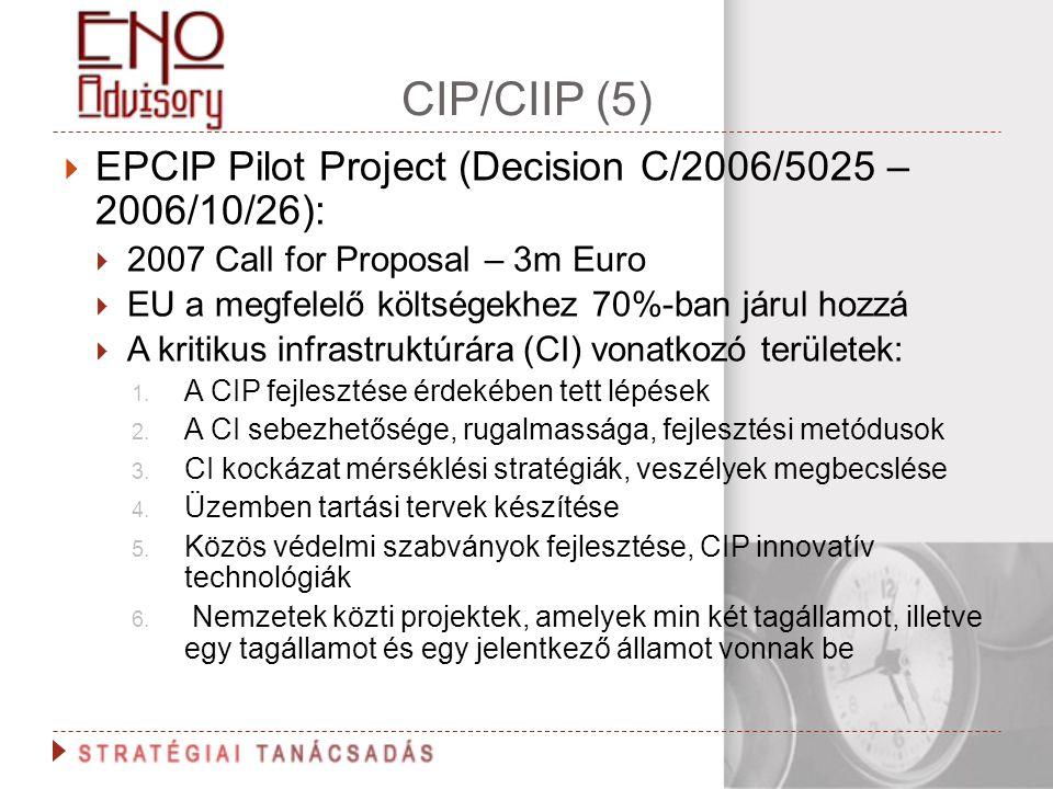 CIP/CIIP (5) EPCIP Pilot Project (Decision C/2006/5025 – 2006/10/26):