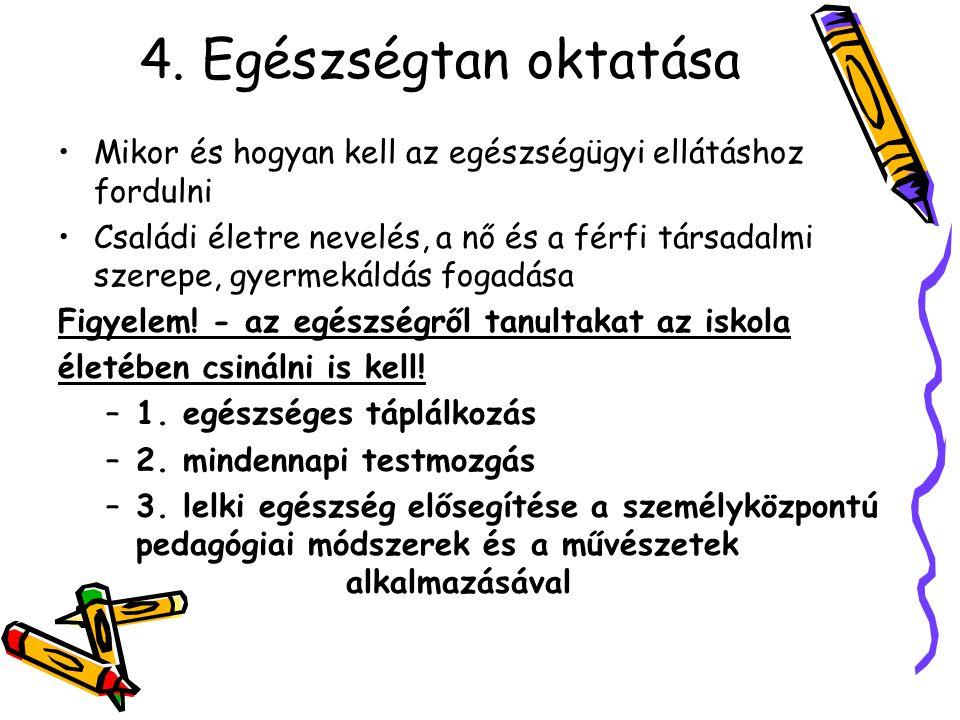 4. Egészségtan oktatása Mikor és hogyan kell az egészségügyi ellátáshoz fordulni.