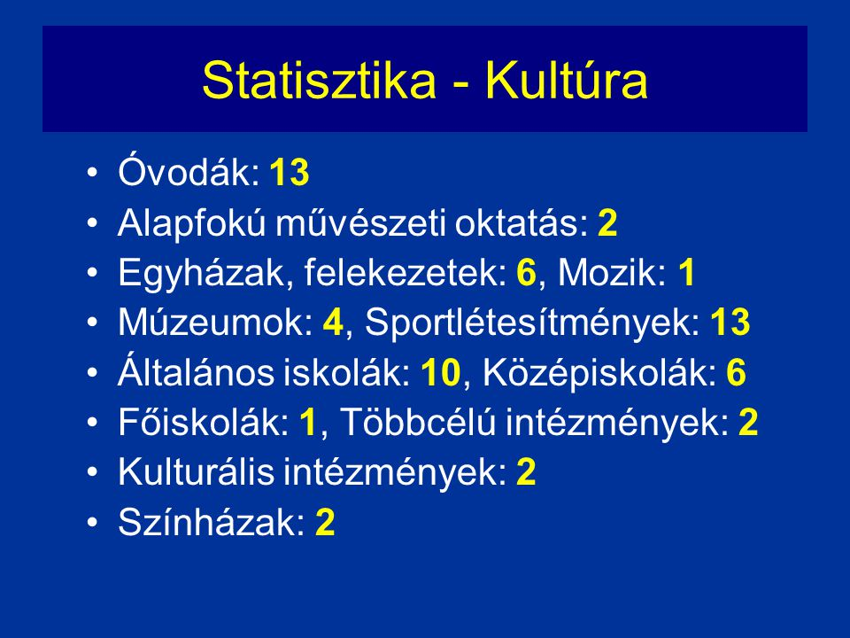 Statisztika - Kultúra Óvodák: 13 Alapfokú művészeti oktatás: 2