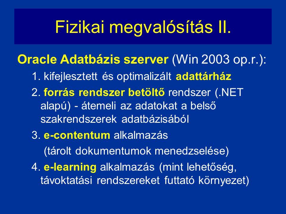 Fizikai megvalósítás II.