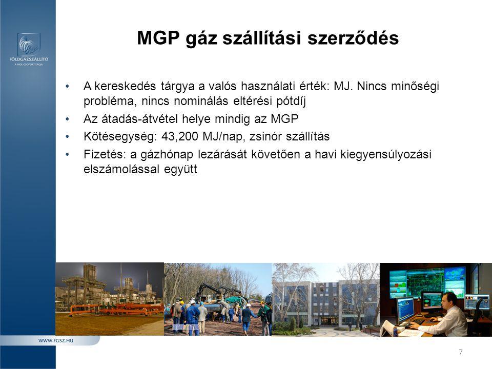 MGP gáz szállítási szerződés