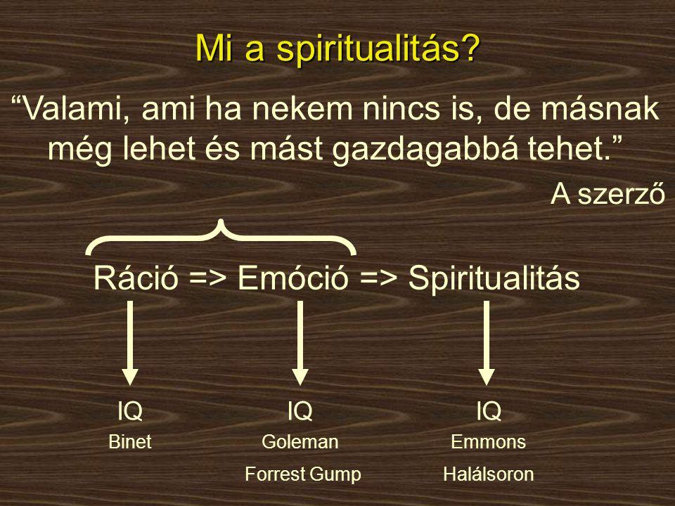 Ráció => Emóció => Spiritualitás
