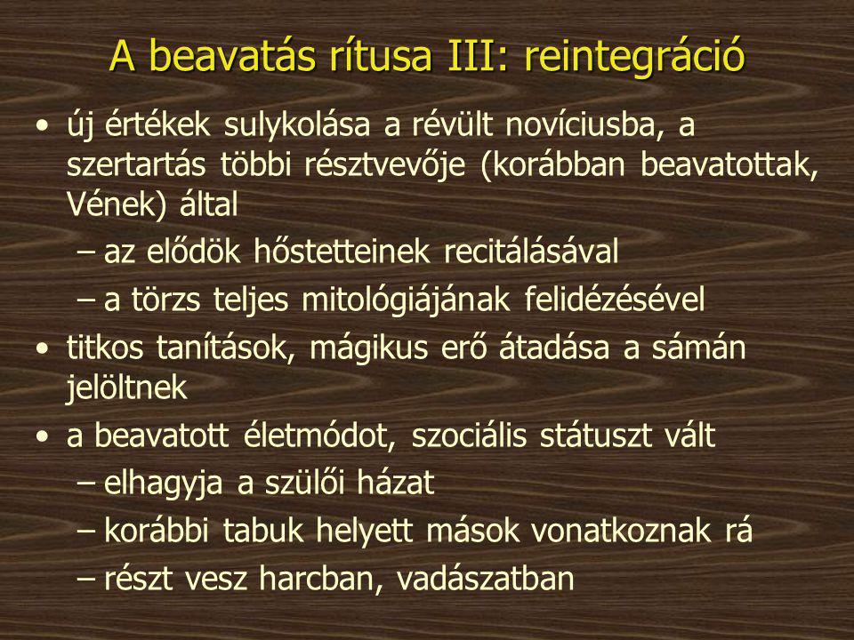 A beavatás rítusa III: reintegráció