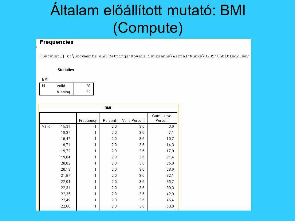 Általam előállított mutató: BMI (Compute)