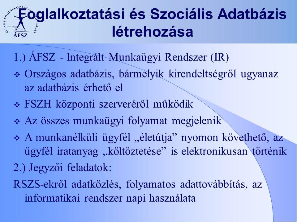 Foglalkoztatási és Szociális Adatbázis létrehozása