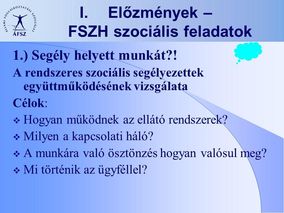 Előzmények – FSZH szociális feladatok