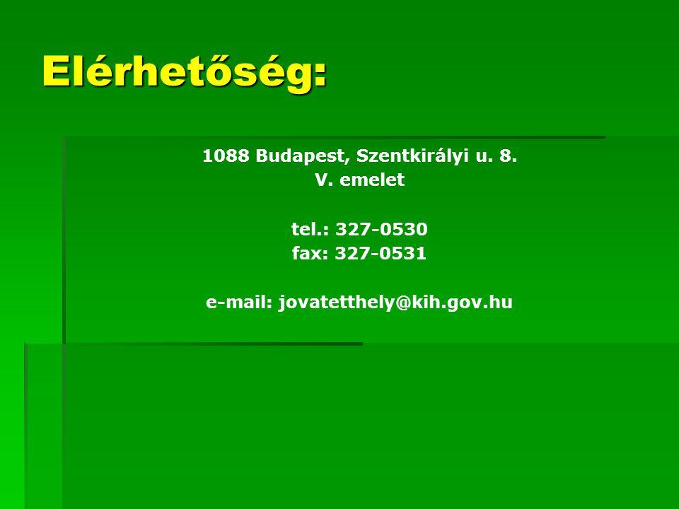 1088 Budapest, Szentkirályi u. 8. e-mail: jovatetthely@kih.gov.hu