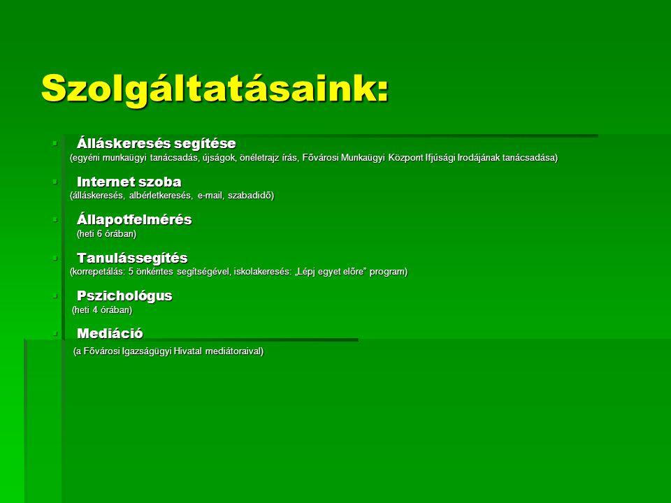 Szolgáltatásaink: Álláskeresés segítése Internet szoba Állapotfelmérés