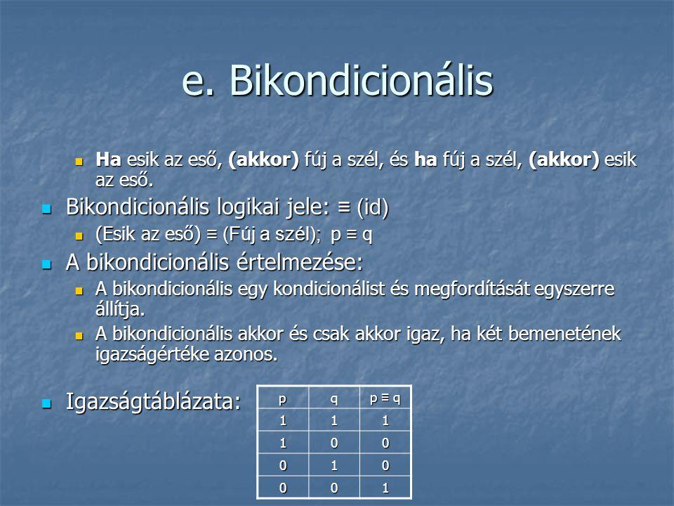 e. Bikondicionális Bikondicionális logikai jele: ≡ (id)