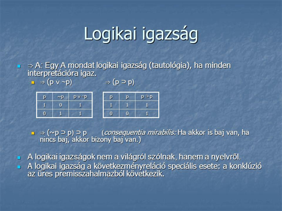 Logikai igazság ⇒ A: Egy A mondat logikai igazság (tautológia), ha minden interpretációra igaz. ⇒ (p ∨ ~p) ⇒ (p ⊃ p)