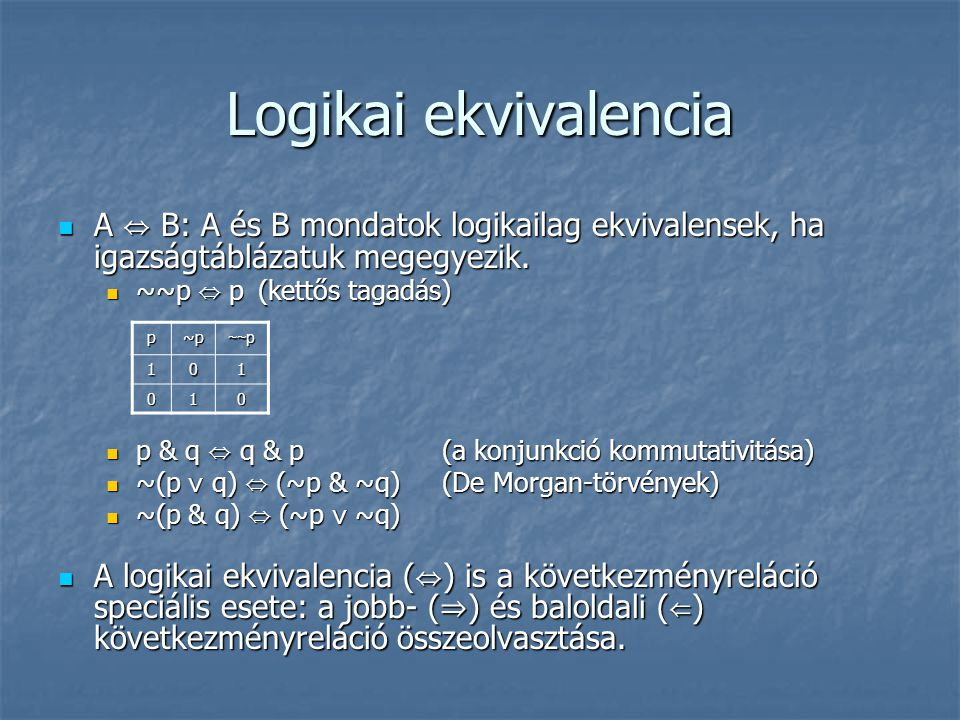 Logikai ekvivalencia A ⇔ B: A és B mondatok logikailag ekvivalensek, ha igazságtáblázatuk megegyezik.