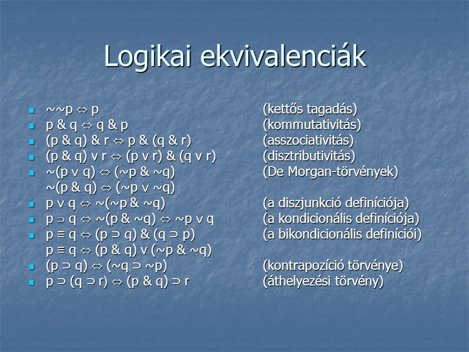 Logikai ekvivalenciák