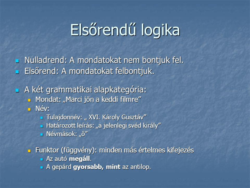 Elsőrendű logika Nulladrend: A mondatokat nem bontjuk fel.