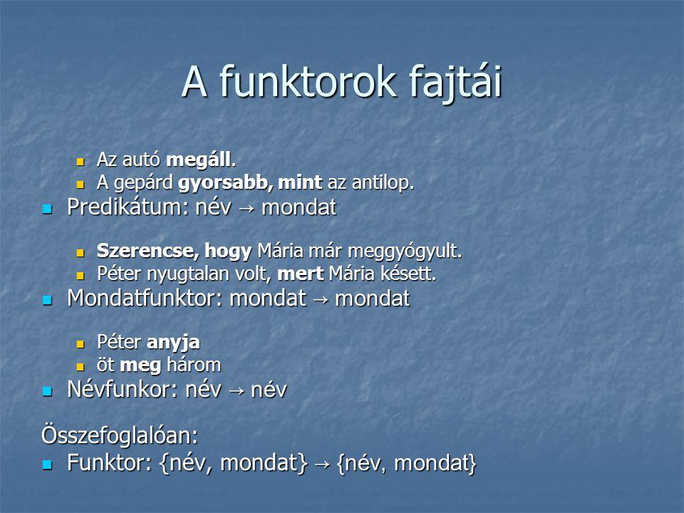 A funktorok fajtái Predikátum: név → mondat