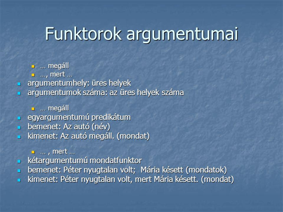 Funktorok argumentumai