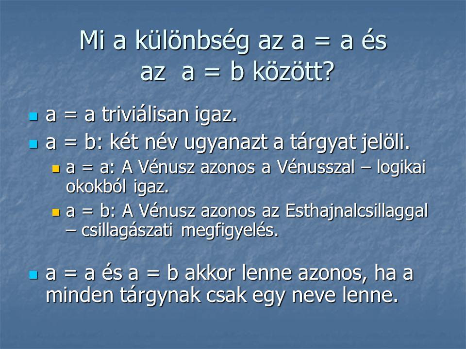 Mi a különbség az a = a és az a = b között