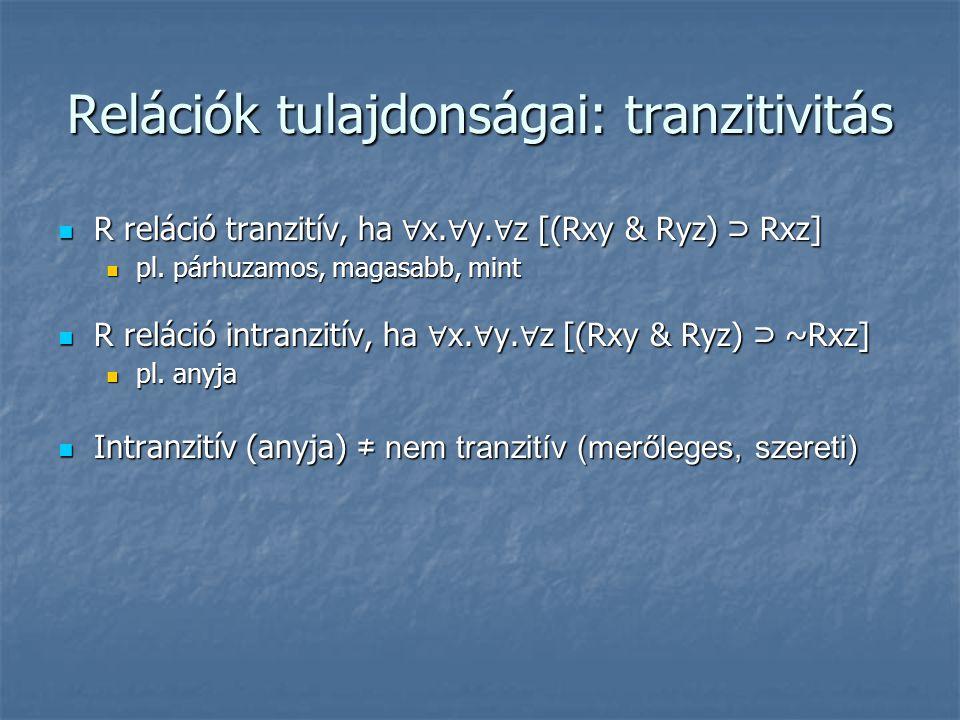 Relációk tulajdonságai: tranzitivitás