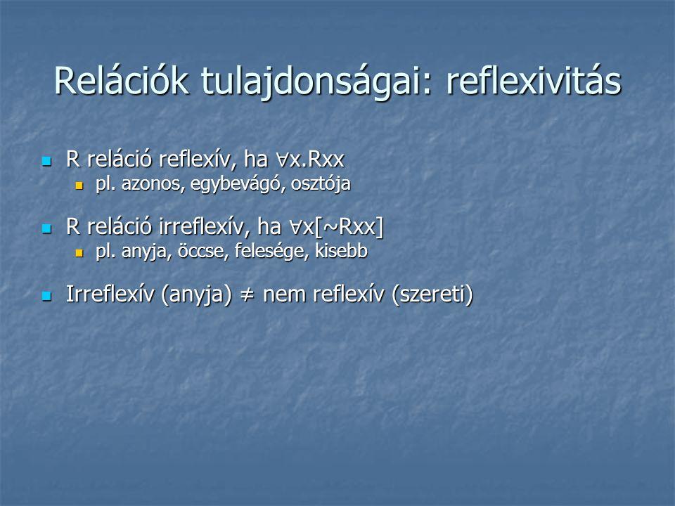 Relációk tulajdonságai: reflexivitás