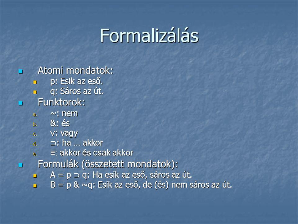 Formalizálás Atomi mondatok: Funktorok: Formulák (összetett mondatok):