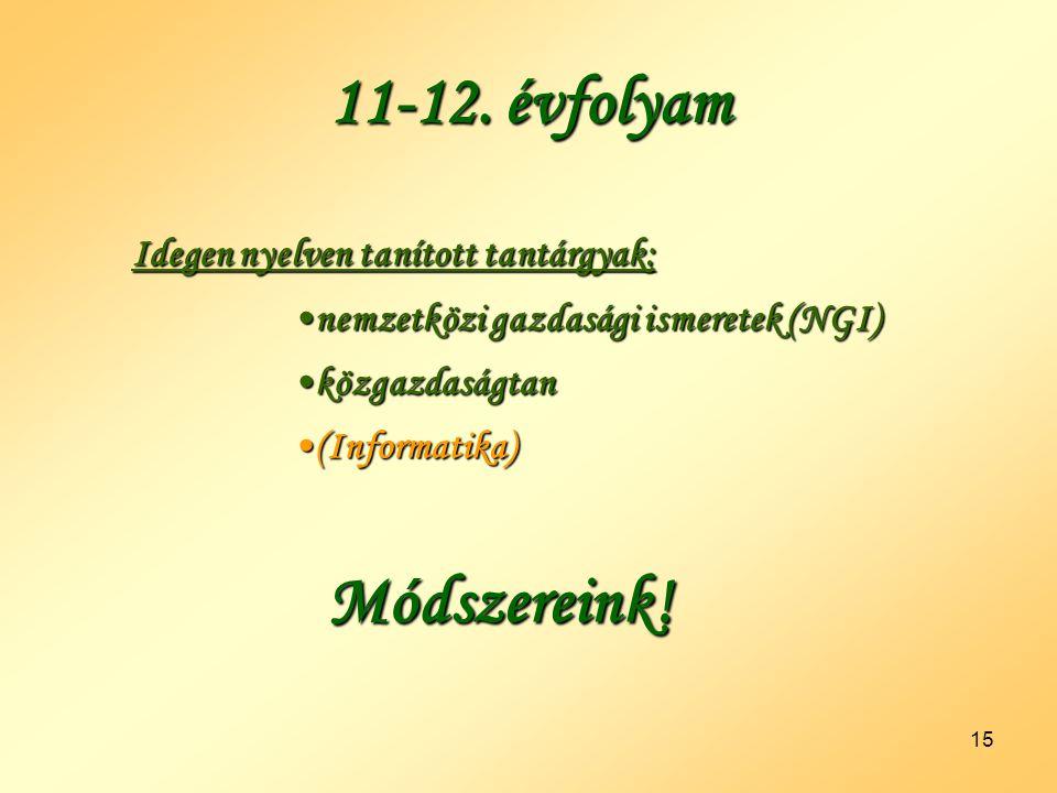 11-12. évfolyam Módszereink!