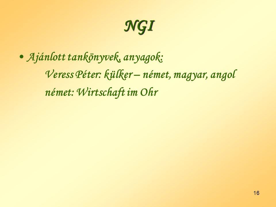 NGI Ajánlott tankönyvek, anyagok: